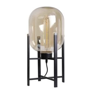 Tischlampe Larino Amber Glas