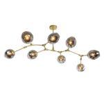 Hängelampe Laurenzo 8 helles Gold + Rauchglas